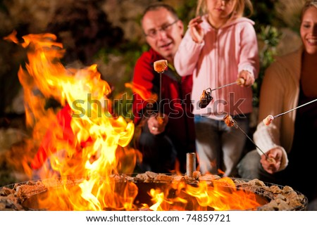 Family at the barbecue in the evening, they grilling marshmallows - stock photo