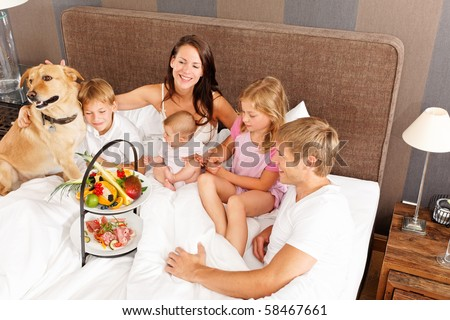 family breakfast with best friend - stock photo