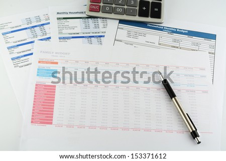 Family budget sheet report - stock photo