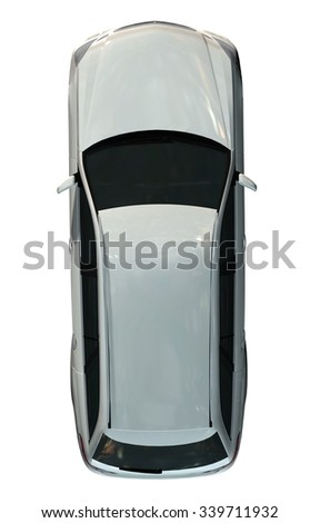 Family Car top view - isolated on white background
