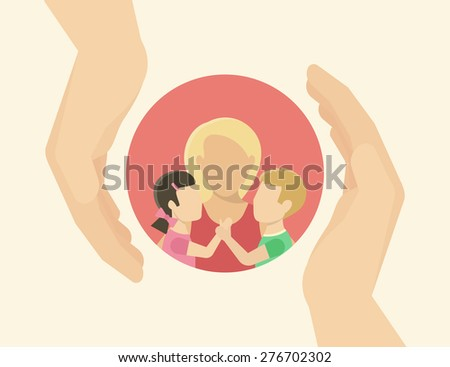 Family care. Mom with two kids. Flat illustration on white - stock photo