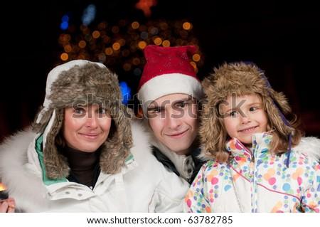Family celebrate Christmas - stock photo