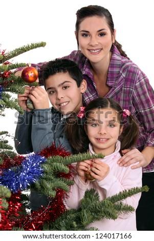 Family celebrating Christmas together - stock photo