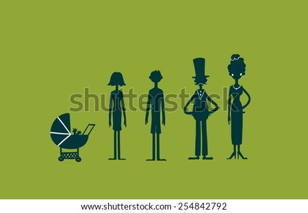 Family characters silhouette on green screen background. Digital background raster illustration. - stock photo