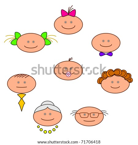 Family, cheerful faces: grandmother, grandfather, mother, father, children - stock photo