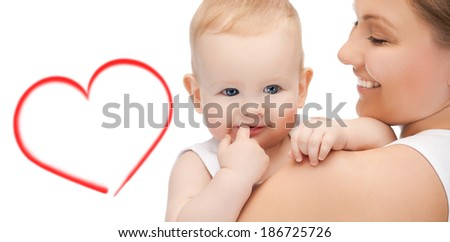 family, child and happiness concept - happy mother with adorable baby - stock photo
