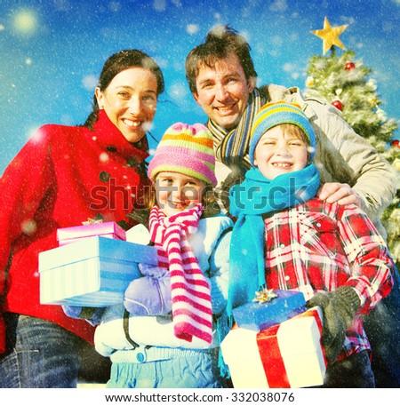 Family Christmas Celebration Vacation Happiness Concept - stock photo