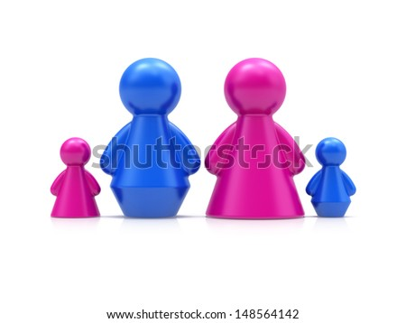 Family concept. Abstract 3d figures isolated on white background. - stock photo