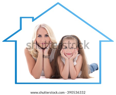 family concept - mother with her little daughter lying on the floor over white