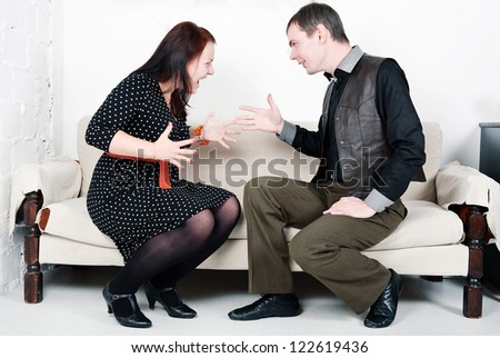 Family conflict between man and woman - stock photo