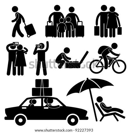 Family Couple Tourist Travel Vacation Trip Holiday Honeymoon Icon Symbol Sign Pictogram - stock photo