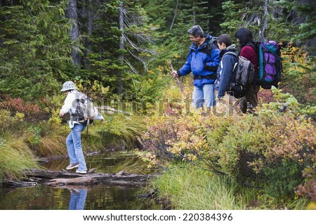 Family crossing river on log - stock photo