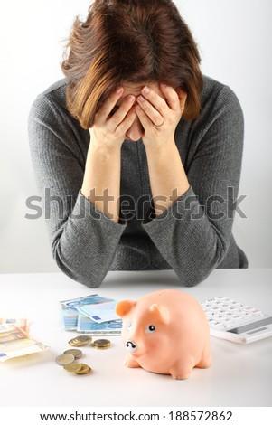 Family debts on white background - stock photo