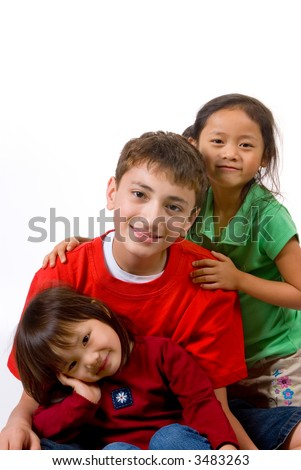 Family diversity. sisters, brother.  Love, affection bonding family - stock photo
