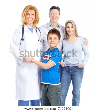 family doctor and young family. Over white background