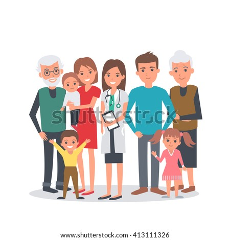 Family doctor illustration. Big family with doctor. Family portrait isolated on white background. - stock photo
