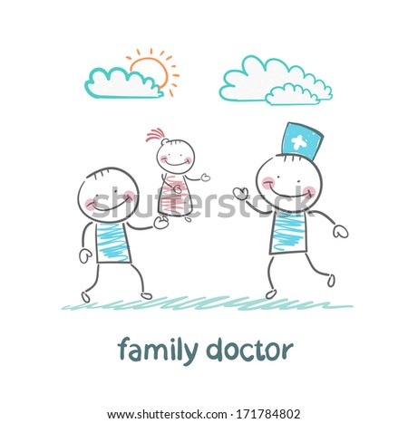 family doctor treats her mother with a child - stock photo