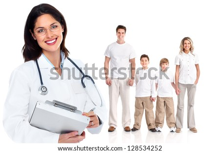 Family doctor woman. Health care. Isolated on white background. - stock photo