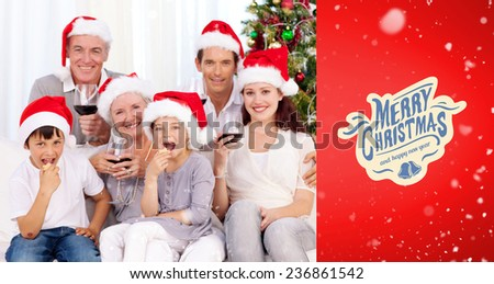 Family drinking wine and eating sweets in Christmas against red vignette - stock photo