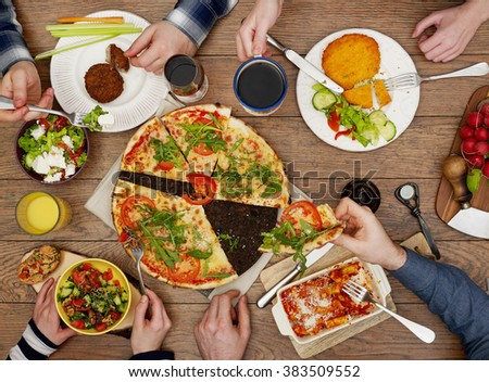 Family eating - stock photo