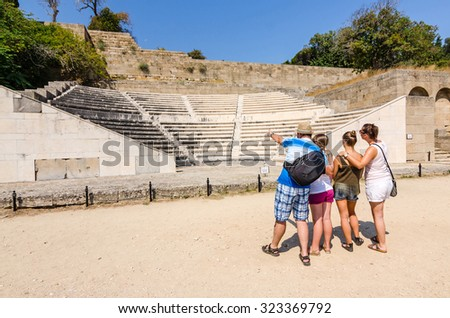 Family education about ancient history - stock photo