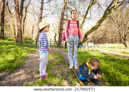 Family enjoying time together in the forest