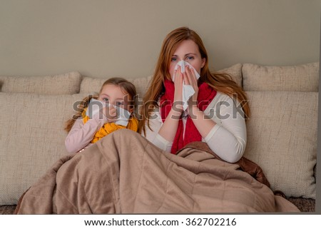 family flu season at home - stock photo