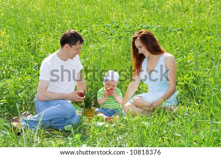 Family from three person at picnic on green grass - stock photo