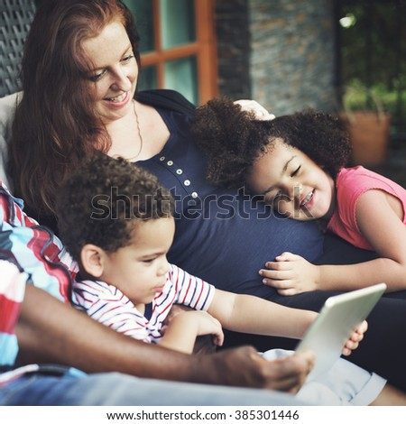 Family Generation Gesturing Happiness Relationship Concept - stock photo