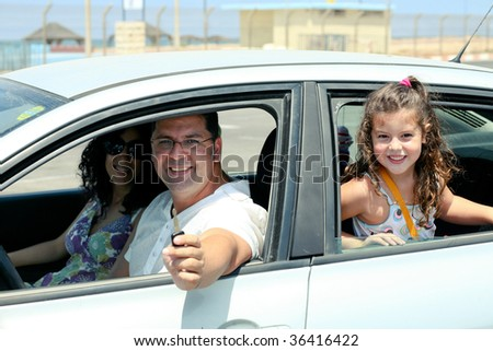 Family going for long drive - stock photo