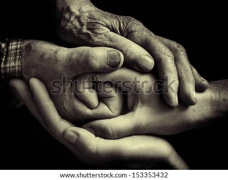 family hands - stock photo