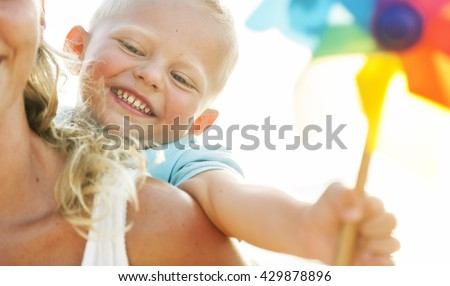 Family Happiness Beach Tropical Paradise Fun Concept - stock photo