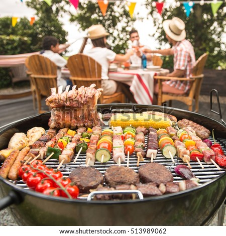 Barbecue party stock images royalty free images vectors for What to serve at a bbq birthday party