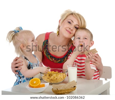 Family Having Lunch Together. isolated on white background - stock photo