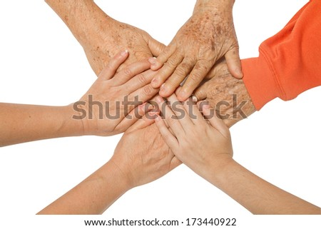 Family holding hands together,concept The bond between family - stock photo