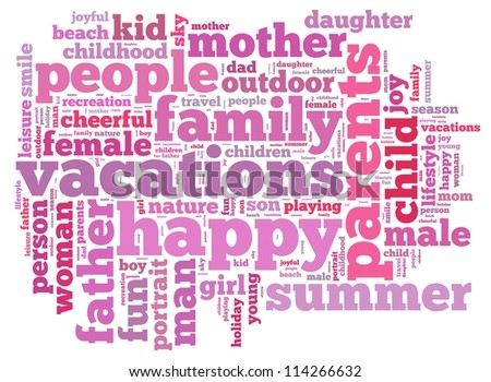 family holiday info-text graphics and arrangement concept on white background (word cloud)
