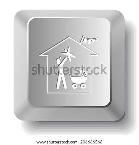 Family home. Raster computer key. - stock photo