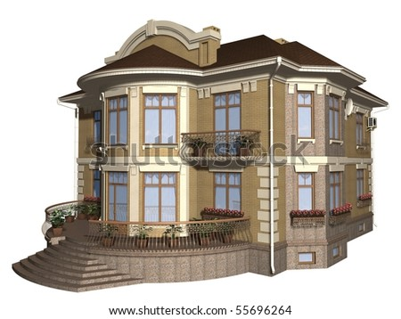 Family house 3d illustration isolated on white background - stock photo