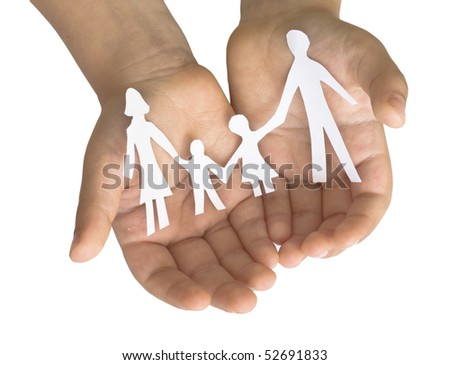 family in child's hands - stock photo