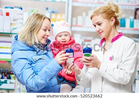 family in drug store