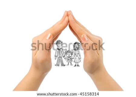 Family in house made of hands isolated on white background - stock photo