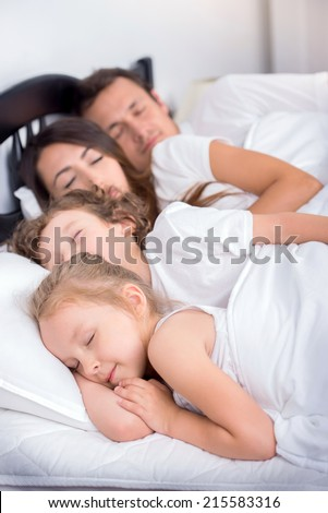Family in the bedroom  Young family  Dad  mom  little boy and little. Cute African Mother Baby Sleeping Bed Stock Photo 153205259