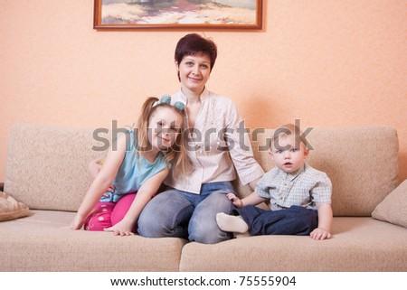 family indoor - stock photo