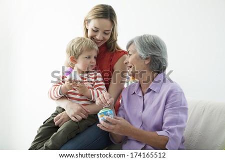 Family Indoors - stock photo