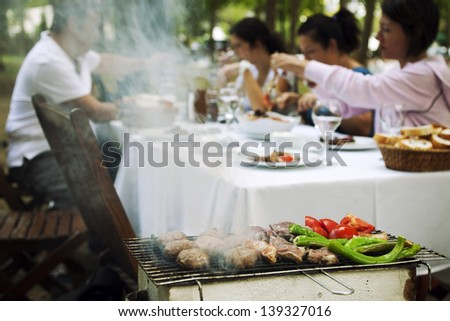 Family is making barbecue at the garden and enjoying their lunch. - stock photo