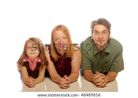 Family isolated on white background - stock photo