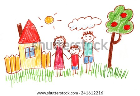 Family kids drawing - stock photo