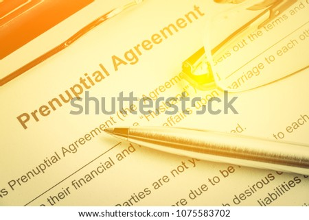 Family Law Prenuptial Agreement Contract Entered Stock Photo Edit