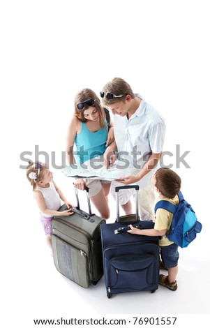 Family looking map on a white background - stock photo