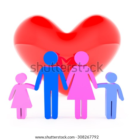 Family love concept, 3d render, white background - stock photo